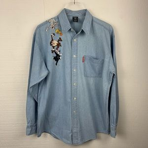 Looney Tunes Chambray Blue Long Sleeve Shirt